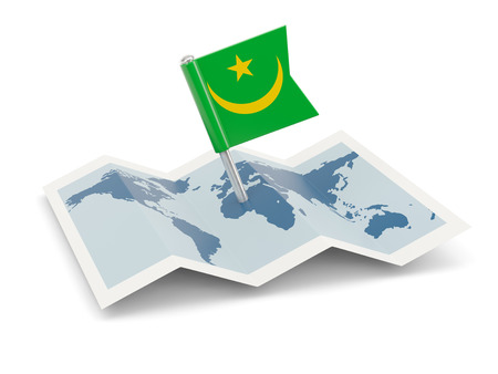 mauretanien: Map with flag of mauritania isolated on white