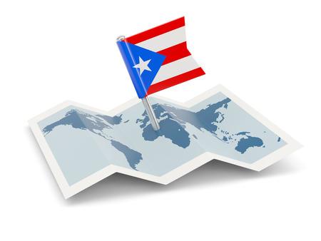 bandera de puerto rico: Mapa de la bandera de Puerto Rico aislado en blanco