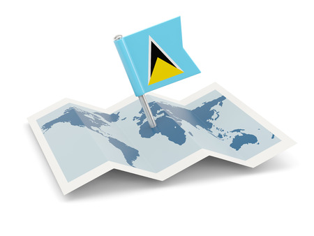 saint lucia: Map with flag of saint lucia isolated on white