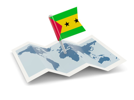 principe: Mapa con la bandera de Santo Tom� y Pr�ncipe aislado en blanco