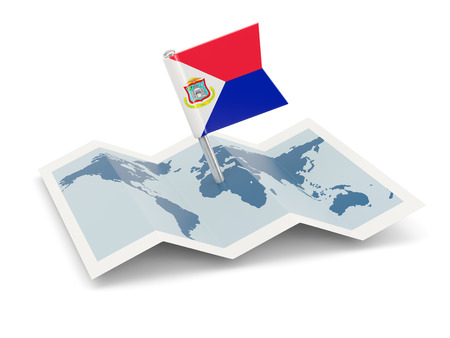 sint: Map with flag of sint maarten isolated on white