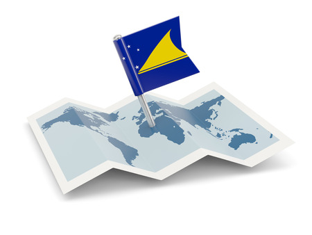 tokelau: Map with flag of tokelau isolated on white