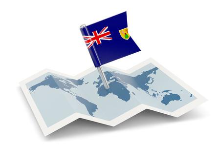 turks: Mapa de la bandera de Islas Turcas y Caicos aislado en blanco Foto de archivo