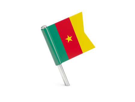 cameroon: Flag pin of cameroon isolated on white