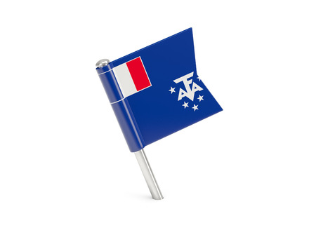 territories: Flag pin of french southern territories isolated on white