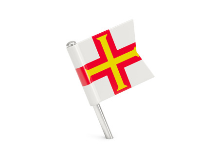 guernsey: Flag pin of guernsey isolated on white Stock Photo