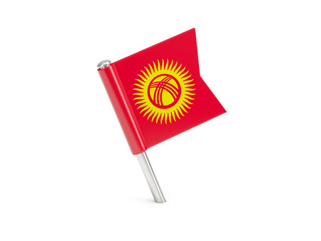 kyrgyzstan: Flag pin of kyrgyzstan isolated on white