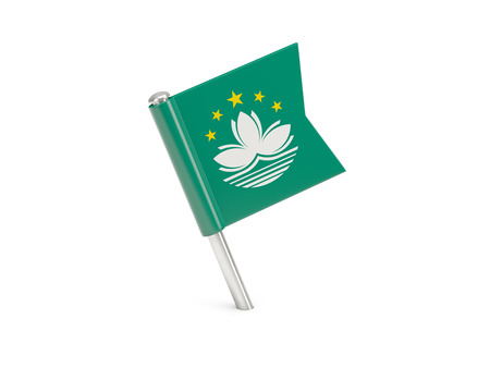 macao: Flag pin of macao isolated on white Stock Photo