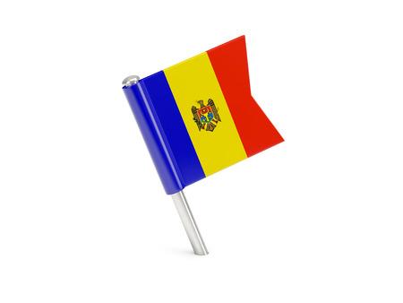 Flag pin of moldova isolated on white photo
