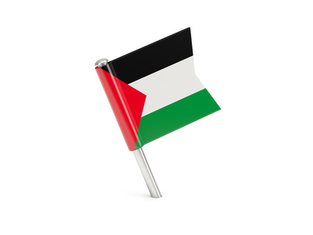 palestinian: Flag pin of palestinian territory isolated on white Stock Photo