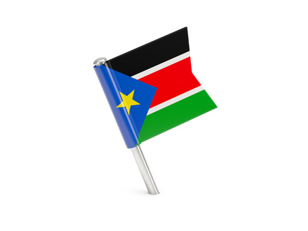 south sudan: Flag pin of south sudan isolated on white