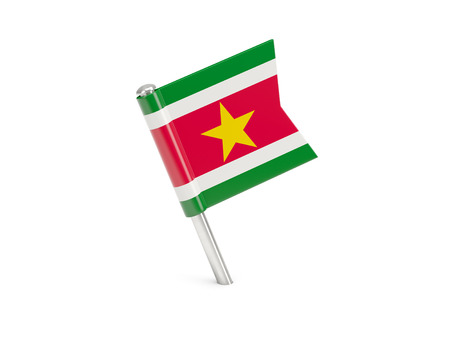 suriname: Flag pin of suriname isolated on white Stock Photo