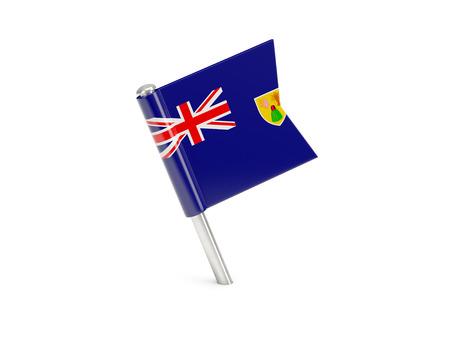 turks: Pin de la bandera de Islas Turcas y Caicos aislado en blanco Foto de archivo