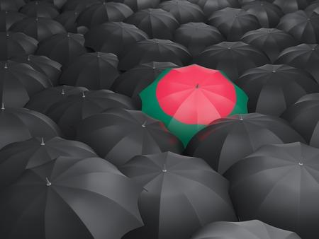 black flag: Umbrella with flag of bangladesh over black umbrellas