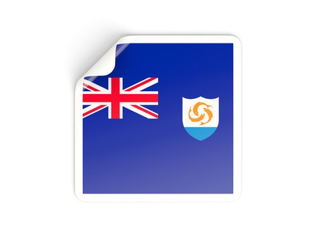 anguilla: Square sticker with flag of anguilla isolated on white