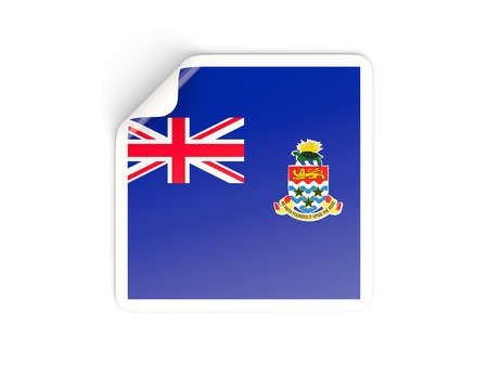 cayman islands: Square sticker with flag of cayman islands isolated on white