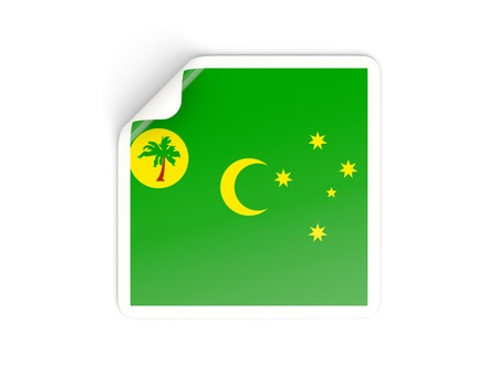 cocos: Square sticker with flag of cocos islands isolated on white