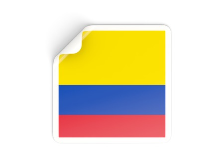 Square sticker with flag of colombia isolated on white photo