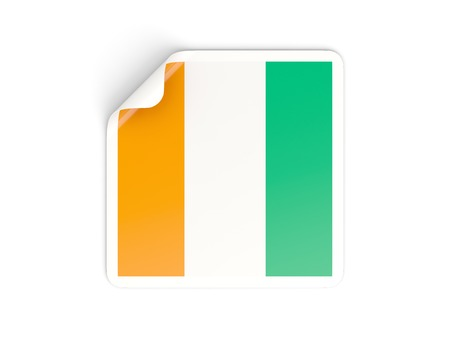 cote ivoire: Square sticker with flag of cote d Ivoire isolated on white
