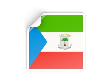 equatorial guinea: Square sticker with flag of equatorial guinea isolated on white Stock Photo
