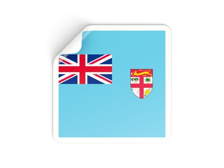 fiji: Square sticker with flag of fiji isolated on white