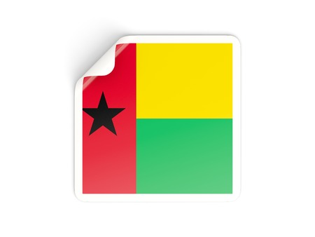 guinea bissau: Square sticker with flag of guinea bissau isolated on white