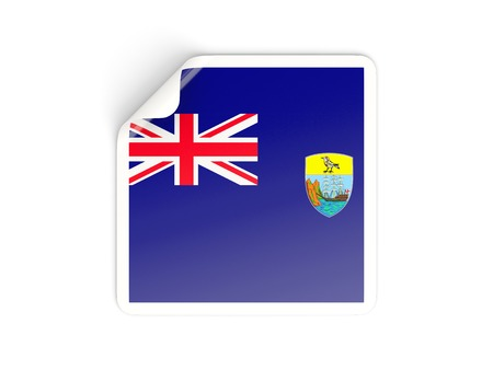 helena: Square sticker with flag of saint helena isolated on white
