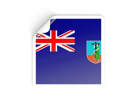 montserrat: Square sticker with flag of montserrat isolated on white