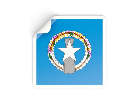 mariana: Square sticker with flag of northern mariana islands isolated on white