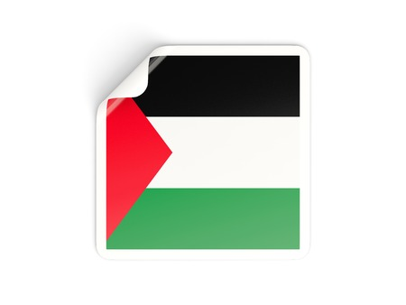 palestinian: Square sticker with flag of palestinian territory isolated on white