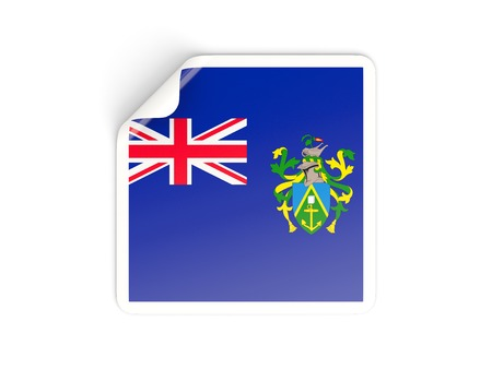 pitcairn: Square sticker with flag of pitcairn islands isolated on white
