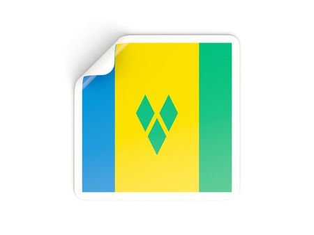 grenadines: Square sticker with flag of saint vincent and the grenadines isolated on white Stock Photo