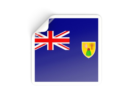 the turks: Square sticker with flag of turks and caicos islands isolated on white