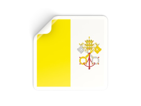 vatican city: Square sticker with flag of vatican city isolated on white