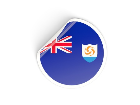 anguilla: Round sticker with flag of anguilla isolated on white