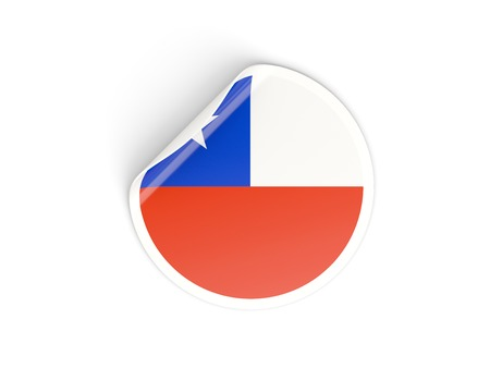 Round sticker with flag of chile isolated on white photo