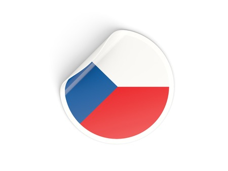 Round sticker with flag of czech republic isolated on white photo