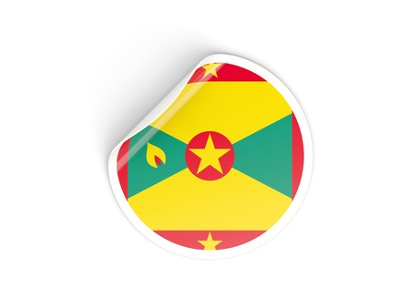 grenada: Round sticker with flag of grenada isolated on white