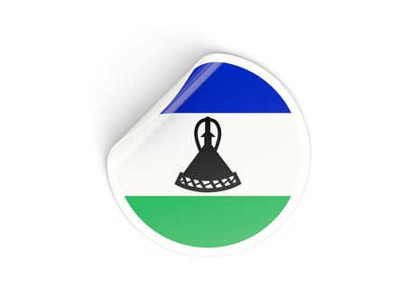 lesotho: Round sticker with flag of lesotho isolated on white