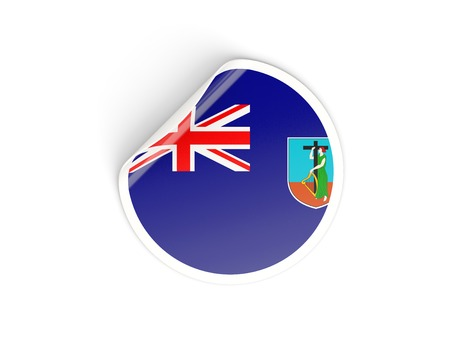 montserrat: Round sticker with flag of montserrat isolated on white Stock Photo
