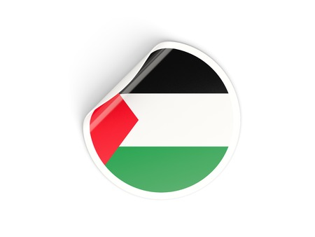 palestinian: Round sticker with flag of palestinian territory isolated on white Stock Photo