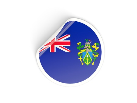 pitcairn: Round sticker with flag of pitcairn islands isolated on white Stock Photo