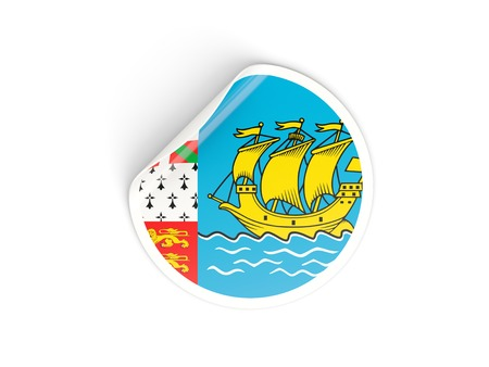 pierre: Round sticker with flag of saint pierre and miquelon isolated on white