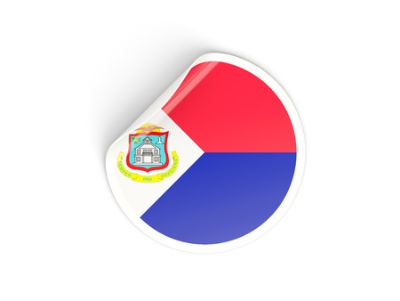 sint: Round sticker with flag of sint maarten isolated on white Stock Photo