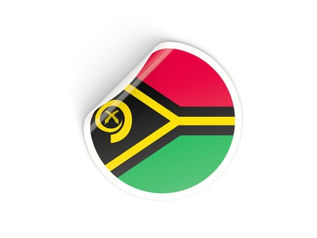 vanuatu: Round sticker with flag of vanuatu isolated on white