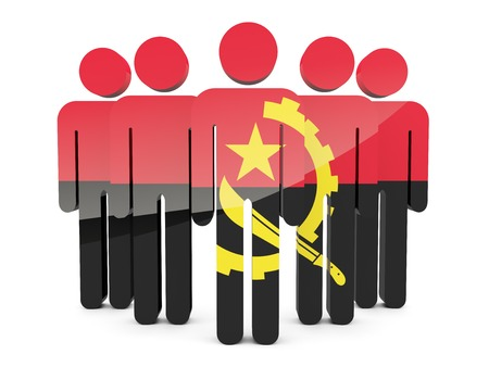 angola: People with flag of angola isolated on white Stock Photo