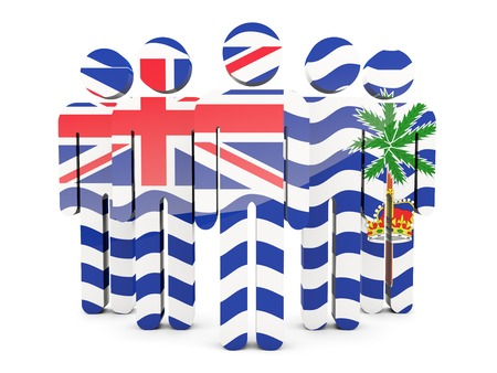 indian ocean: People with flag of british indian ocean territory isolated on white Stock Photo
