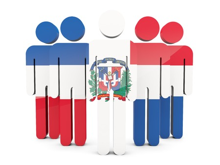dominican republic: People with flag of dominican republic isolated on white