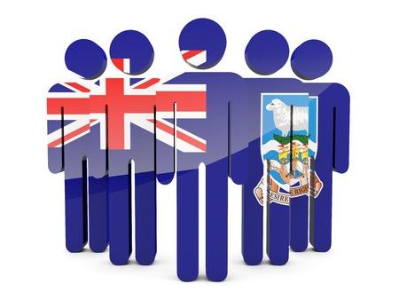 falkland: People with flag of falkland islands isolated on white Stock Photo