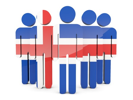 political rally: People with flag of iceland isolated on white